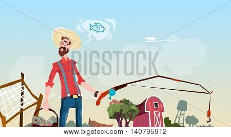Farmer Fishing Farmland Background Flat Vector Illustration