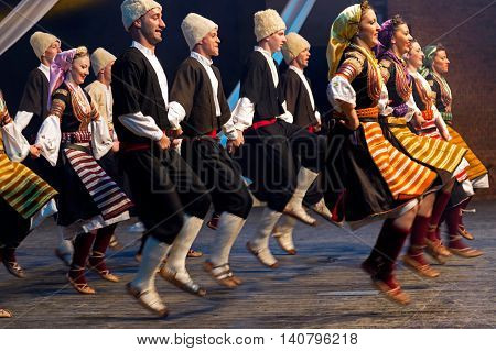 ROMANIA TIMISOARA - JULY 8 2016: Young Serbian dancers in traditional costume present at the international folk festival