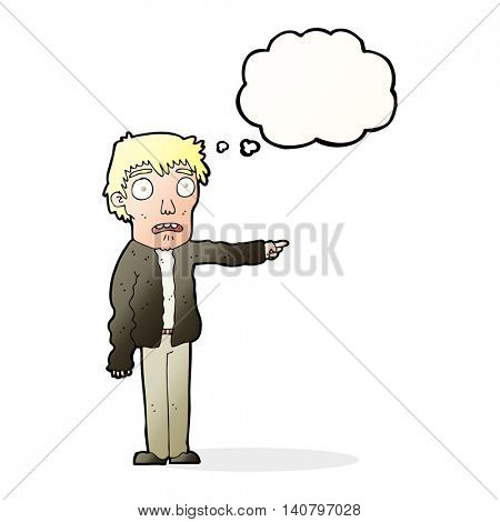 cartoon terrified man pointing with thought bubble