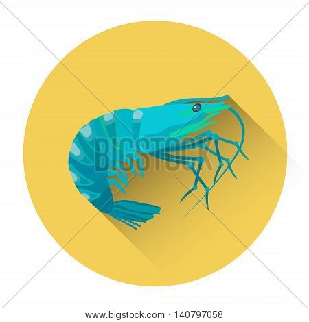 Raw Shrimp Seafood Icon Flat Vector Illustration