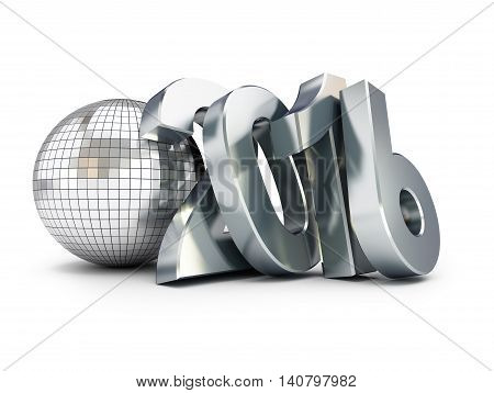 New Year 2016 and disco ball. 3D illustration on a white background