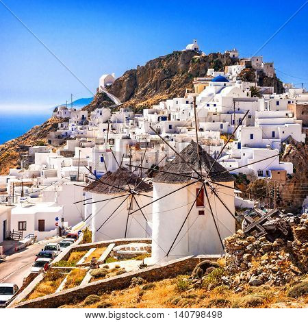 Serifos island, view of Chora village and windmills. Greece, Cyclades