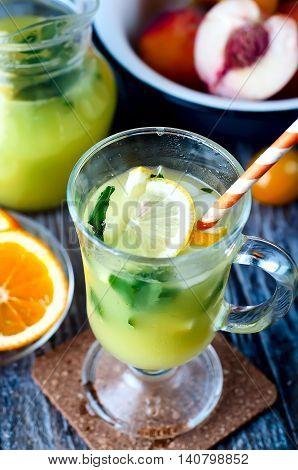 Refreshing Lemonade Drink And Ripe Fruits