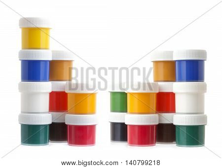 Gouache paints, jars or cans isolated on white background, tin of paint
