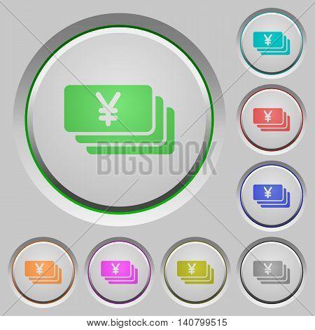 Set of color Yen banknotes sunk push buttons.
