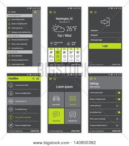 Vector set of modern mobile user interface design. Green buttons.