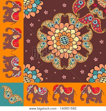 Quarter of the ethnic bandana print with ornamental border. Silk neck scarf with beautiful flowers paisley and elephants. Summer kerchief square pattern design style for print on fabric.