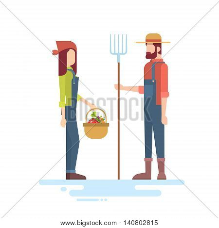 Farmers Couple Hold Farming Equipment Country Man And Woman Flat Vector Illustration