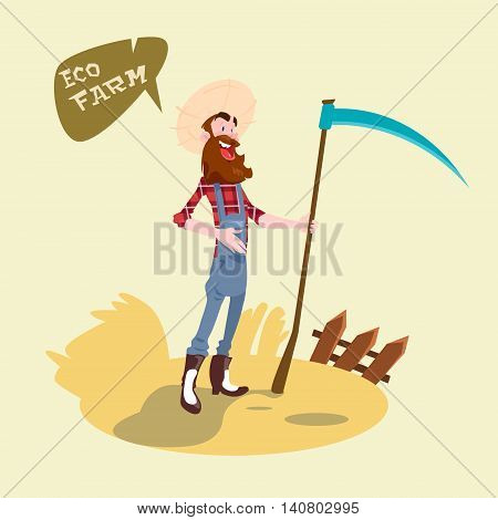 Farmer Holding Scythe Wheat Harvest Eco Farming Concept Flat Vector Illustration