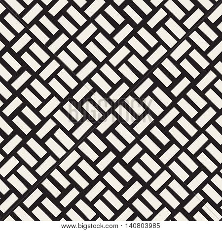Vector Seamless Black And White Diagonal Rectangles Pavement Pattern