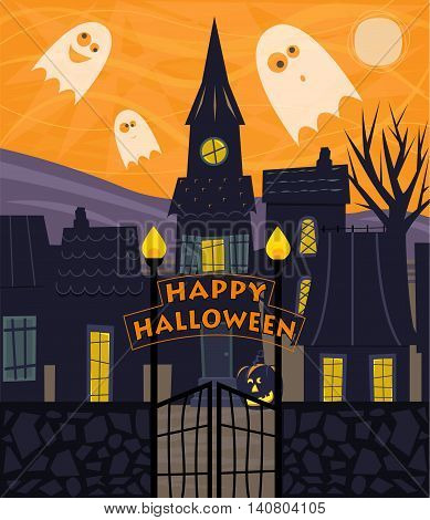 Halloween greeting card of a silhouetted town with Happy Halloween sign and cute ghosts. Eps10