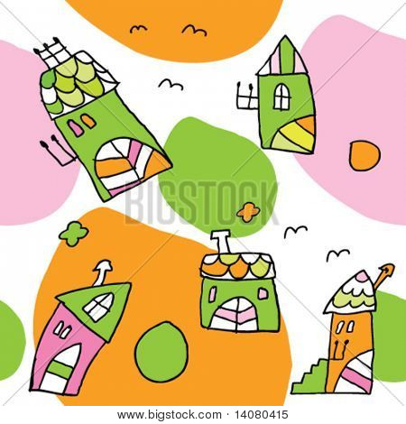 Seamless pattern with little houses
