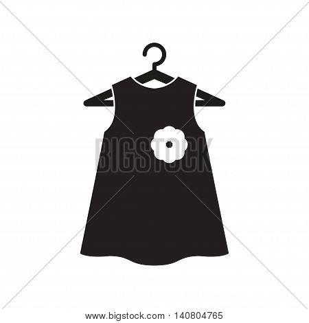 Girl little black dress on hanger. Dress Icon