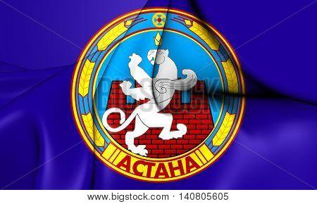Flag of Astana Kazakhstan. 3D Illustration. Front View.