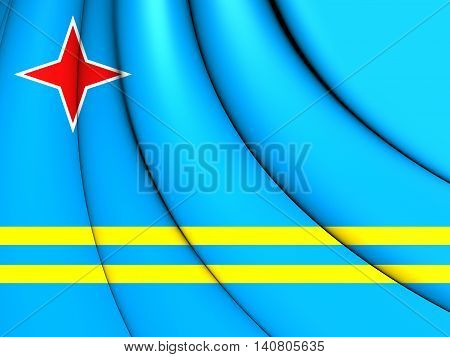 Flag of Aruba. 3D Illustration. Front View.