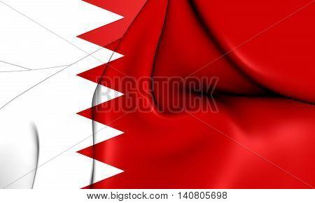 Flag of Bahrain. 3D Illustration. Front View.