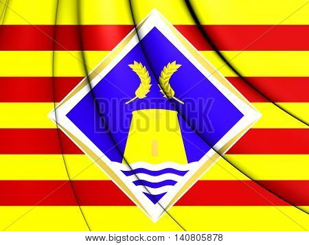 Flag of Formentera Spain. 3D Illustration. Front View.