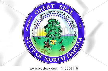 North Dakota Seal USA. 3D Illustration. Close Up.
