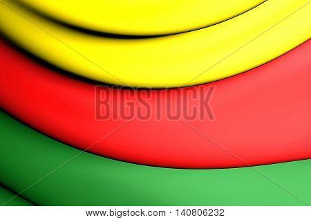 Flag of Western Kurdistan. 3D Illustration. Close Up.