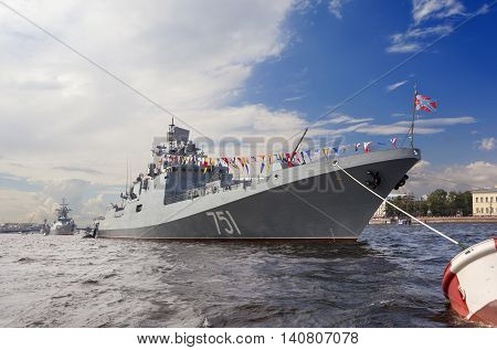 ST. PETERSBURG, RUSSIA - JULY 31, 2016: Photo of Warships in the parade.