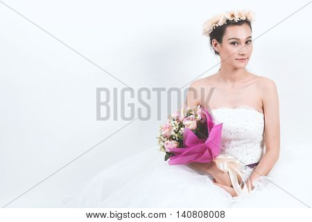 stock photo young beautiful bride, girl, asian