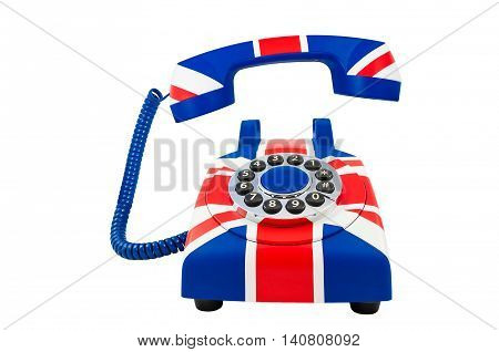 Union Jack telephone with pattern of British flag isolated on the white background. Union Jack telephone with the floating handset.