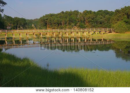Foot Bridge Over Salt Water Marsh - New England, USA