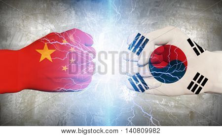 China and South Korea Fists 3D Render