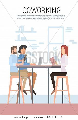 Creative Office Co-working Center People Sitting Desk Working Together, Students University Campus Flat Vector Illustration