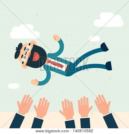 Happy Business People Team Hands Throw Boss Up Success Flat Vector Illustration