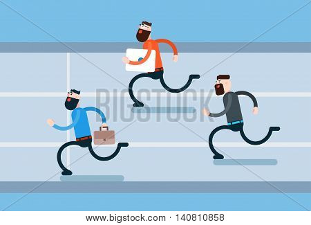 Running Business Man Group Hurry Opponents Flat Vector Illustration