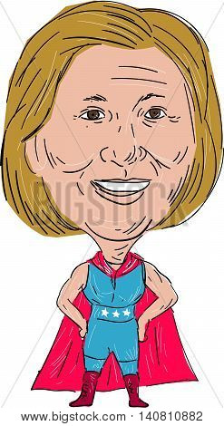 August 1, 2016: Illustration showing Democrat American president 2016 candidate Hillary Clinton as a superhero wrestler or luchero done in cartoon style.