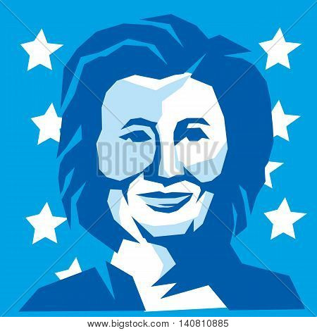 August 1, 2016:  Illustration showing head of Democratic Party presidential candidate for president 2016 Hillary Clinton front view with US flag stars in background done in retro stncil style.
