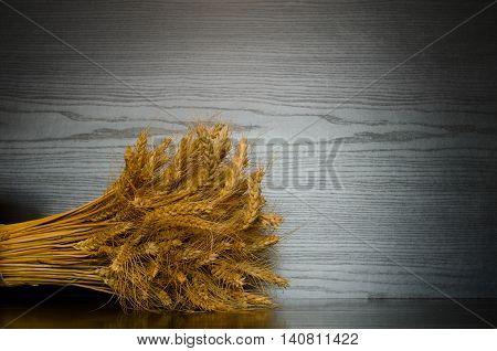 Sheaf on a black background on the side of the frame place for text