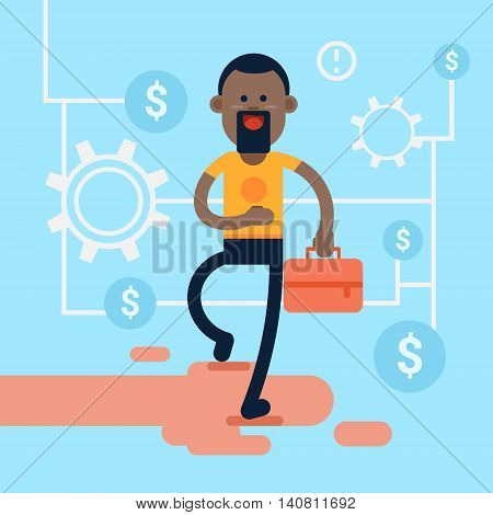 African America Casual Business Man Hold Briefcase Background Financial Success Flat Vector Illustration