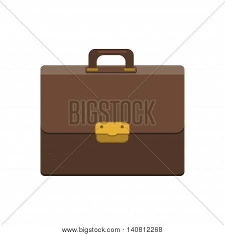 Briefcase Icon In Flat Style. Businessman Bag. Mens Case With Lock Isolated Icon. Modern Vector Illustration For Web And Mobile.