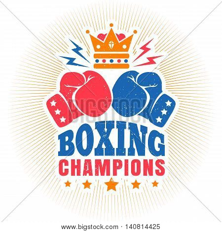 Vector vintage sport logo for boxing with gloves and crown