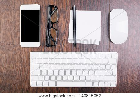 Office Desktop With Items Top