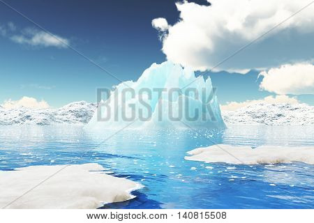 Iceberg Illustration In 3D