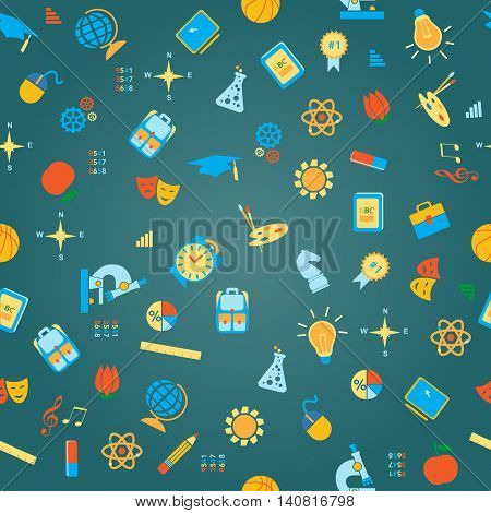 Back to School stationery supplies icon seamless vector pattern. Flat icon template set. School, after-school kids' activities, technology education concept. Use for youth targeted product decoration.