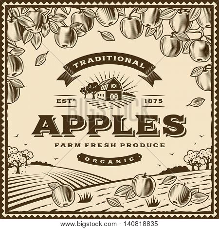 Vintage brown apples label. Editable vector illustration in retro woodcut style with clipping mask.