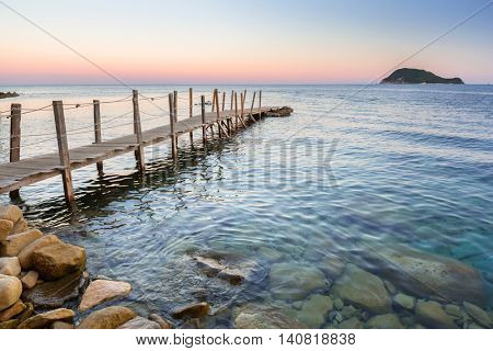 Sunset at Ionian sea on Zakhynthos island, Greece
