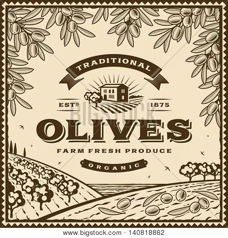 Vintage brown olives label. Editable vector illustration in retro woodcut style with clipping mask.