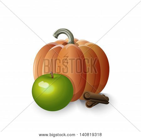 pumpkin apple cinnamon -- ingredients of apple pumpkin pie with cinnamon pie stuffing