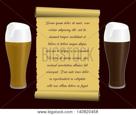 two glasses of beer and old tissue paper (scroll) with an inscription