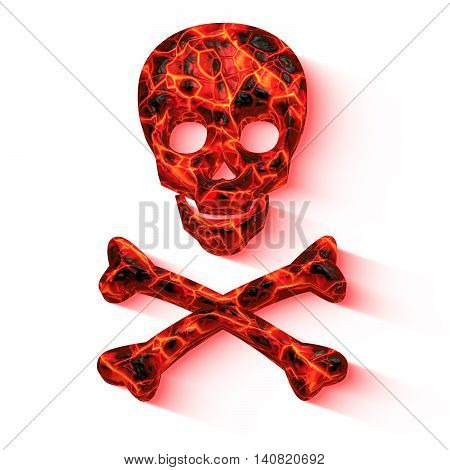 Skull with lava texture glowing red with two crossing bones below isolated on white 3D illustration