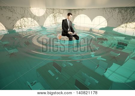 Businessman with laptop sitting on lifebuoy in abstract flooded office interior. 3D Rendering