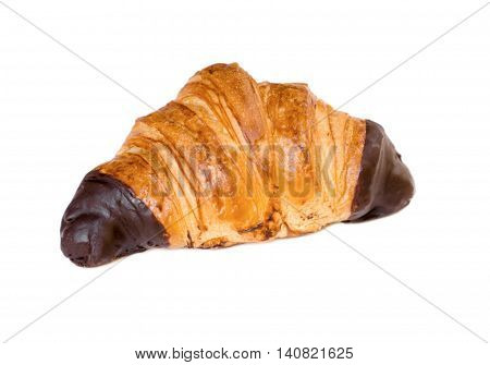 French Pastry Croissant Baked Flaky and Brown Breakfast Pastry Dipped in Chocolate