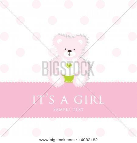 Teddybär für Mädchen - Baby-Anreise-Ankündigung