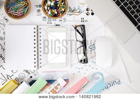 Light Office Desktop With Items